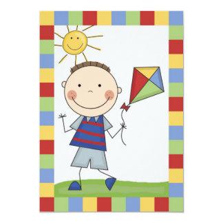 Strichmännchen-Junge mit Drachen-Geburtstag laden 12,7 X 17,8 Cm Einladungskarte