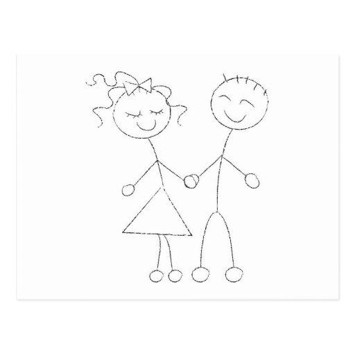 Strichmännchen-Junge und Mädchen Postkarte Zazzle
