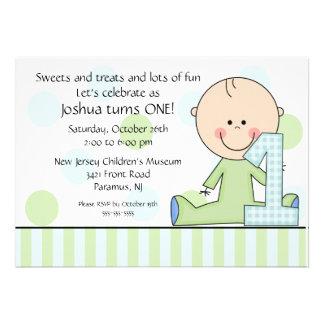 Strichmännchen-Jungen-1 Geburtstags-Einladung