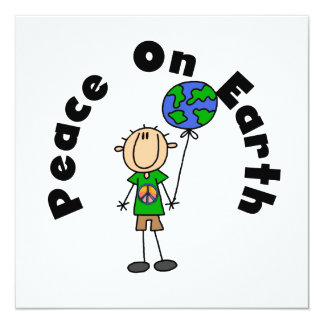 Strichmännchen-Jungen-Weltfrieden-T - Shirts und Individuelle Ankündigungskarte