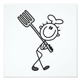 Strichmännchen-Koch mit Gabel Quadratische 13,3 Cm Einladungskarte