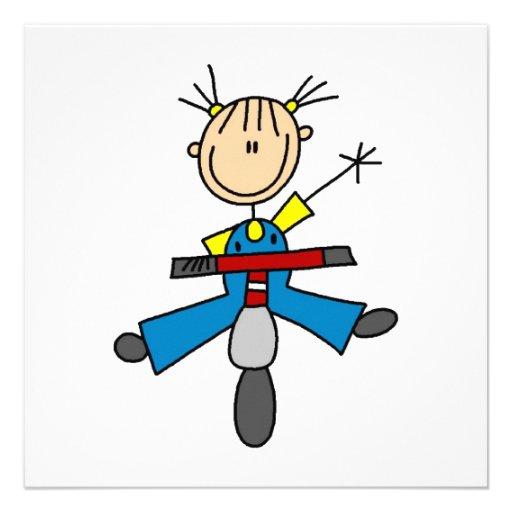 Strichmännchen-Mädchen, das einen Roller fährt Individuelle Ankündigungen