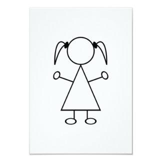Strichmännchen-Mädchen 8,9 X 12,7 Cm Einladungskarte