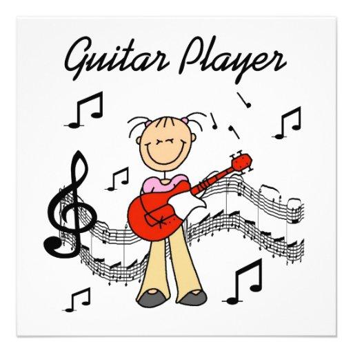 Strichmännchen-Mädchen-Gitarren-Spieler-T-Shirts Personalisierte Ankündigungskarte