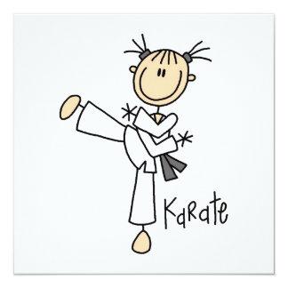 Strichmännchen-Mädchen-Karate-T - Shirts und Personalisierte Einladungen