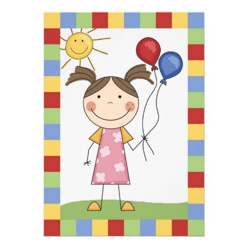 Strichmännchen-Mädchen mit Ballon-Geburtstag laden Personalisierte Ankündigungen