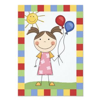 Strichmännchen-Mädchen mit Ballon-Geburtstag laden 12,7 X 17,8 Cm Einladungskarte