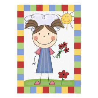 Strichmännchen-Mädchen mit Blumen-Geburtstag laden