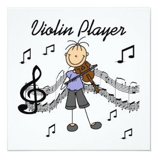 Strichmännchen-Mädchen-Violinen-Spieler-T - Shirts Quadratische 13,3 Cm Einladungskarte