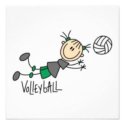 Strichmännchen-Mädchen-Volleyball-T-Shirts und Individuelle Ankündigungskarte