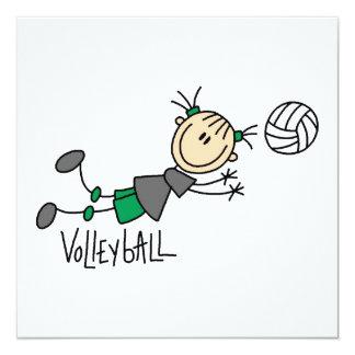 Strichmännchen-Mädchen-Volleyball-T - Shirts und Individuelle Ankündigungskarte