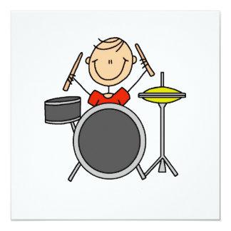 Strichmännchen-männliche Schlagzeuger-T - Shirts Einladungen