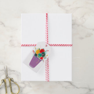 Strickendes Geschenk oder Geschäft Geschenkanhänger