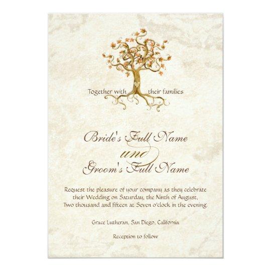 Strudel-Baum-Wurzeln Antiqued das mit Monogramm Karte