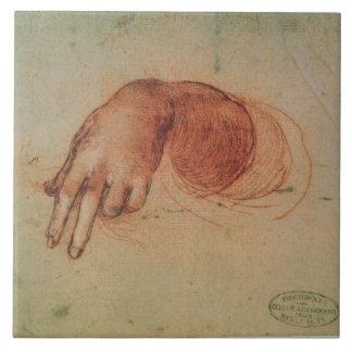 Studie einer Hand (rote Kreide auf Papier) Große Quadratische Fliese