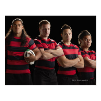 Studioporträt des männlichen Rugbyteams Postkarte