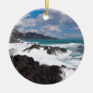 Stürmischer Wellengang - Insel Sizilien Rundes Keramik Ornament