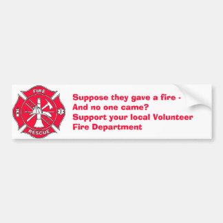 Stützen Sie Ihre lokale freiwillige Feuerwehr Autoaufkleber