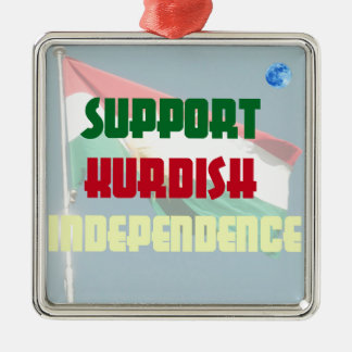 Stützkurdische Unabhängigkeit Quadratisches Silberfarbenes Ornament