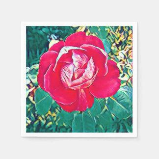 Stylized rote Blumen-malende Papierserviette