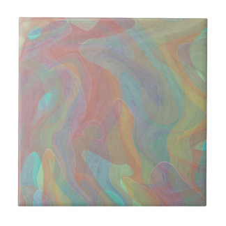 Subtiler Pastellwatercolor-abstrakte Kunst Kleine Quadratische Fliese