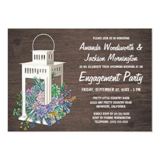Succulents + Laternen-Verlobungs-Party Einladungen