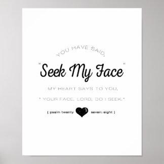 Suchen Sie mein Gesicht, Psalm-Schrift Poster
