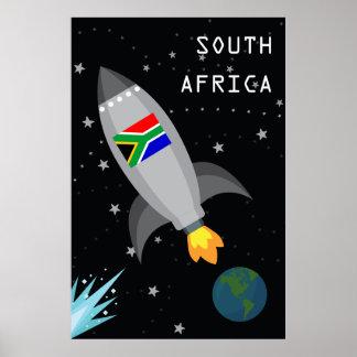 Südafrika-Flaggen-Rocket-Schiff Poster