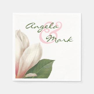 Südliche Magnolien-Blume, die | rosa und Weiß Papierservietten