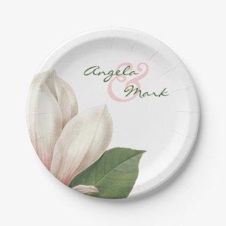 Südliche Magnolien-Blume, die | rosa und Weiß Pappteller