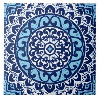 Südwestlicher Sun-Mandala-Batik, Marine-Blau u. Große Quadratische Fliese