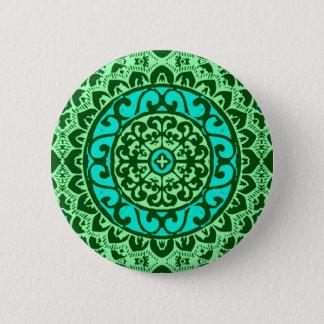 Südwestlicher Sunmandala-Batik, Limones Grün Runder Button 5,1 Cm