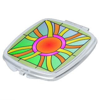 Sun mit Strahln-Deko-Kunst-Make-upspiegel Taschenspiegel