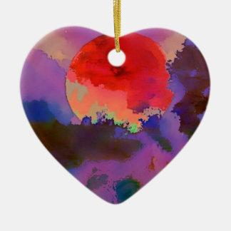 Sun-Set in den Bäumen Keramik Herz-Ornament