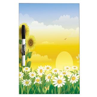 Sun, Sonnenblumen, weiße Blumen Memoboard