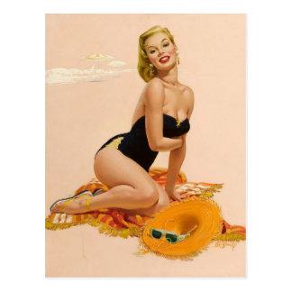 Sunbather PinUp Postkarte