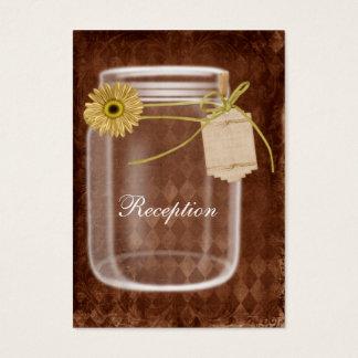 sunflowe rustikaler Maurerglas-Hochzeit Empfang Visitenkarte