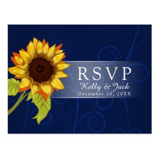 Sunflower/RSVP Hochzeit Postkarte