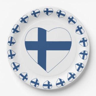 SUOMI FINNLAND HERZ-FORM-FLAGGE PAPPTELLER