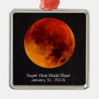 Super blaues Blut-Mond 2018 Silbernes Ornament