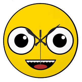 Super glückliches Gesicht Große Wanduhr