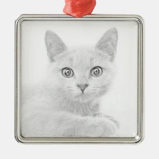 SUPER NIEDLICHES Kätzchen-Katzen-Porträt Silbernes Ornament