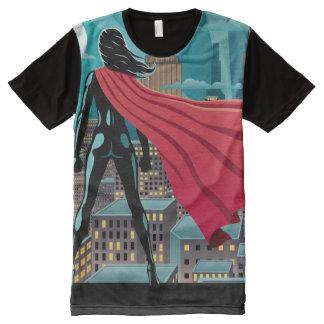 Superfrau in der Stadt T-Shirt Mit Bedruckbarer Vorderseite