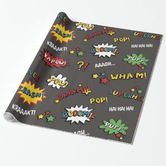 Superheld-buntes Spaß-Muster Geschenkpapier