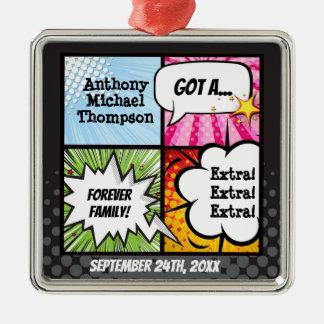Superheld-Comic-Buch-Adoption, Familien-Geschenk Silbernes Ornament