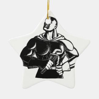 Superheld-Klempner mit Schlüssel-Holzschnitt Keramik Stern-Ornament