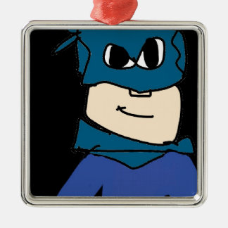Superheld Quadratisches Silberfarbenes Ornament