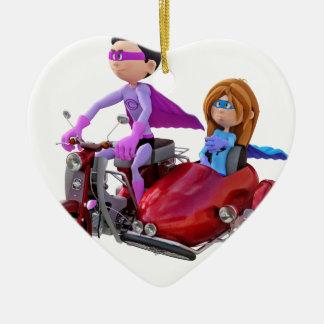 Superhelden in einem Moped mit einem Beiwagen Keramik Herz-Ornament