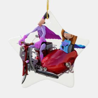 Superhelden in einem Moped mit einem Beiwagen Keramik Stern-Ornament