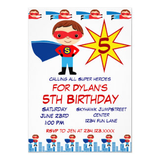 Superhero-Kindergeburtstag-Party Einladungen für